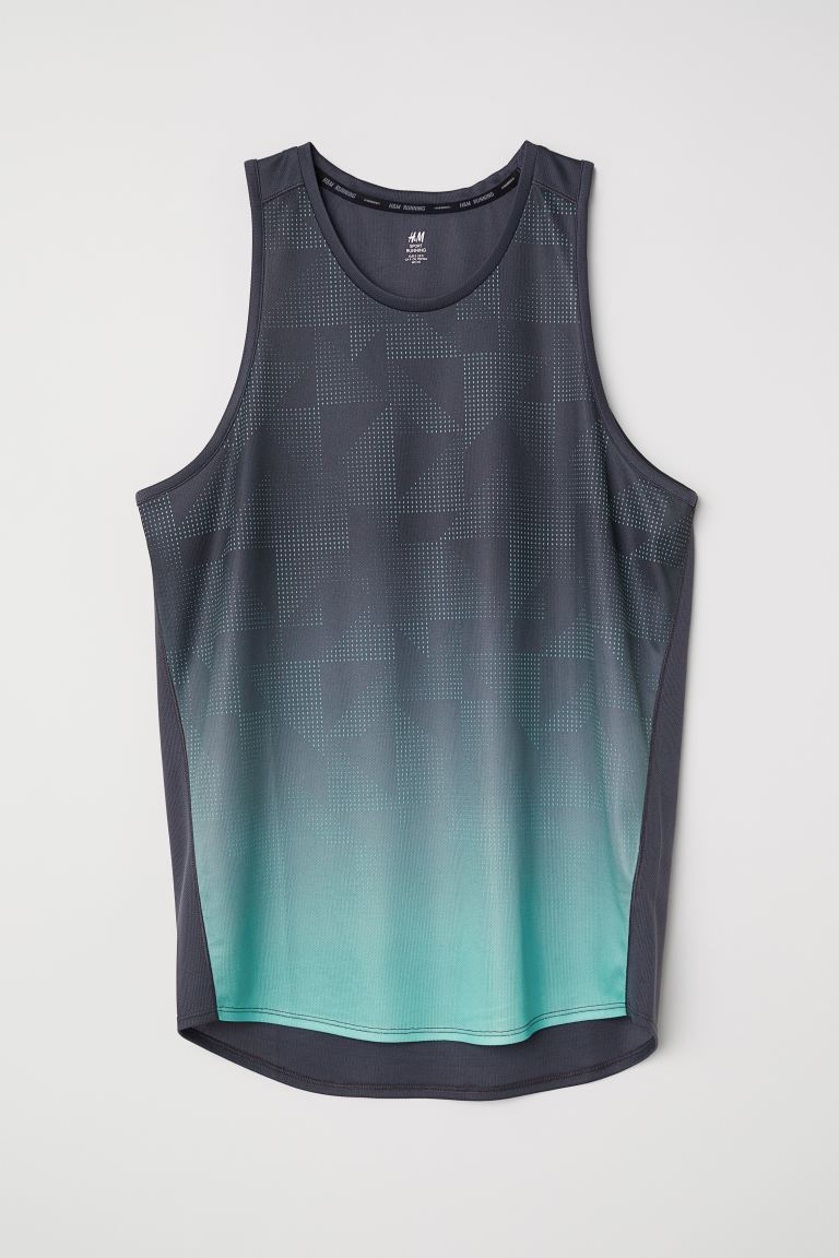 Regular Fit Running Tank Top - Dark blue-gray/patterned - Men | H&M US