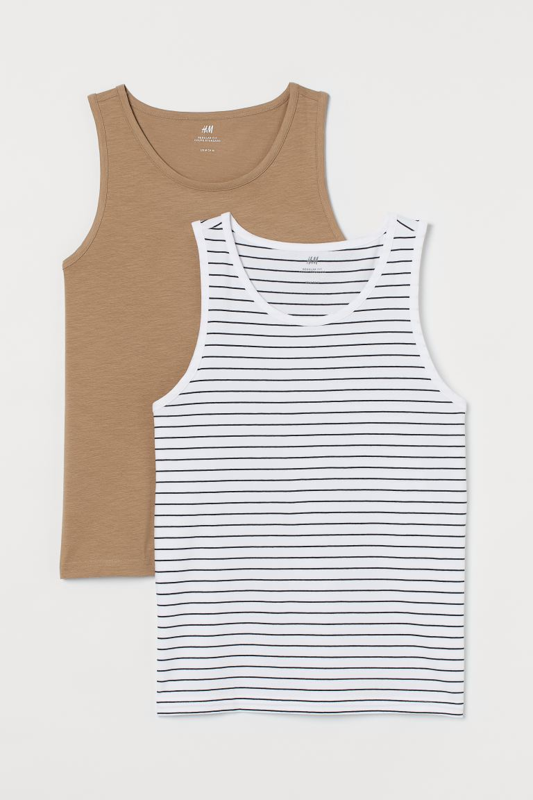 Set van 2 singlets Regular Fit - Donkerbeige/gestreept - HEREN | H&M BE