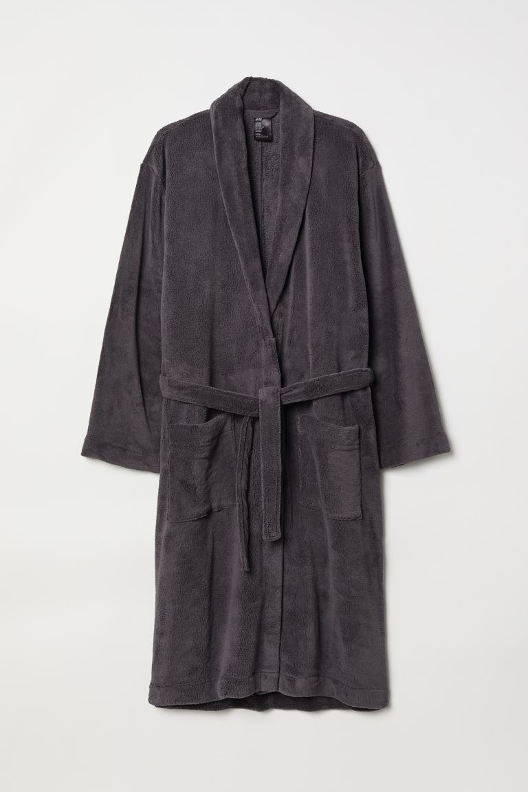 Fleece dressing gown - Dark grey - Men | H&M GB