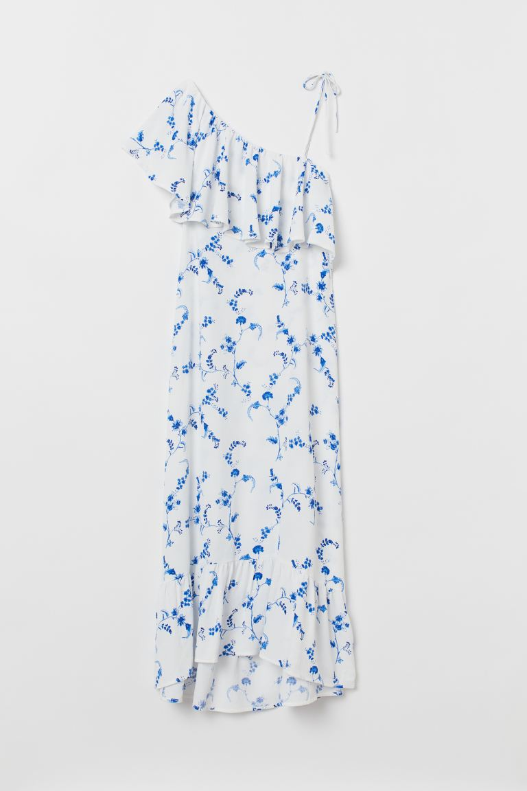 Flounced Dress - White/blue floral - Ladies | H&M US