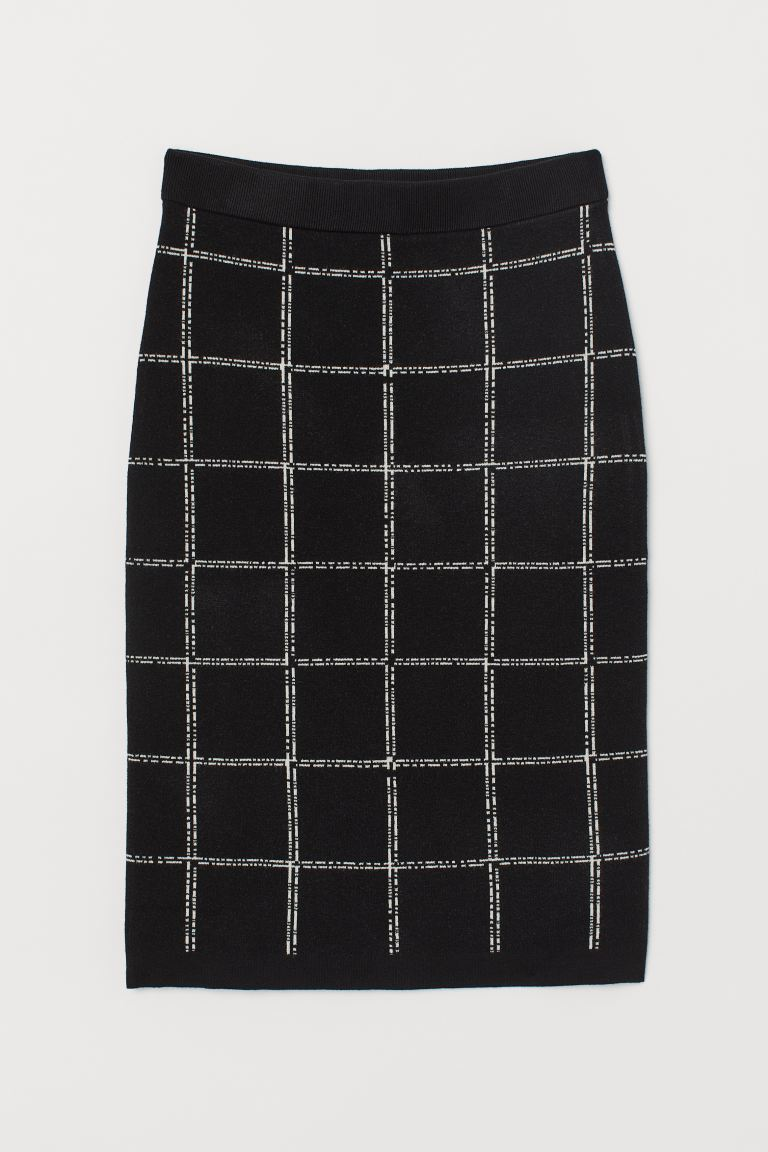 Fine-knit Skirt - Black/checked - Ladies | H&M CA