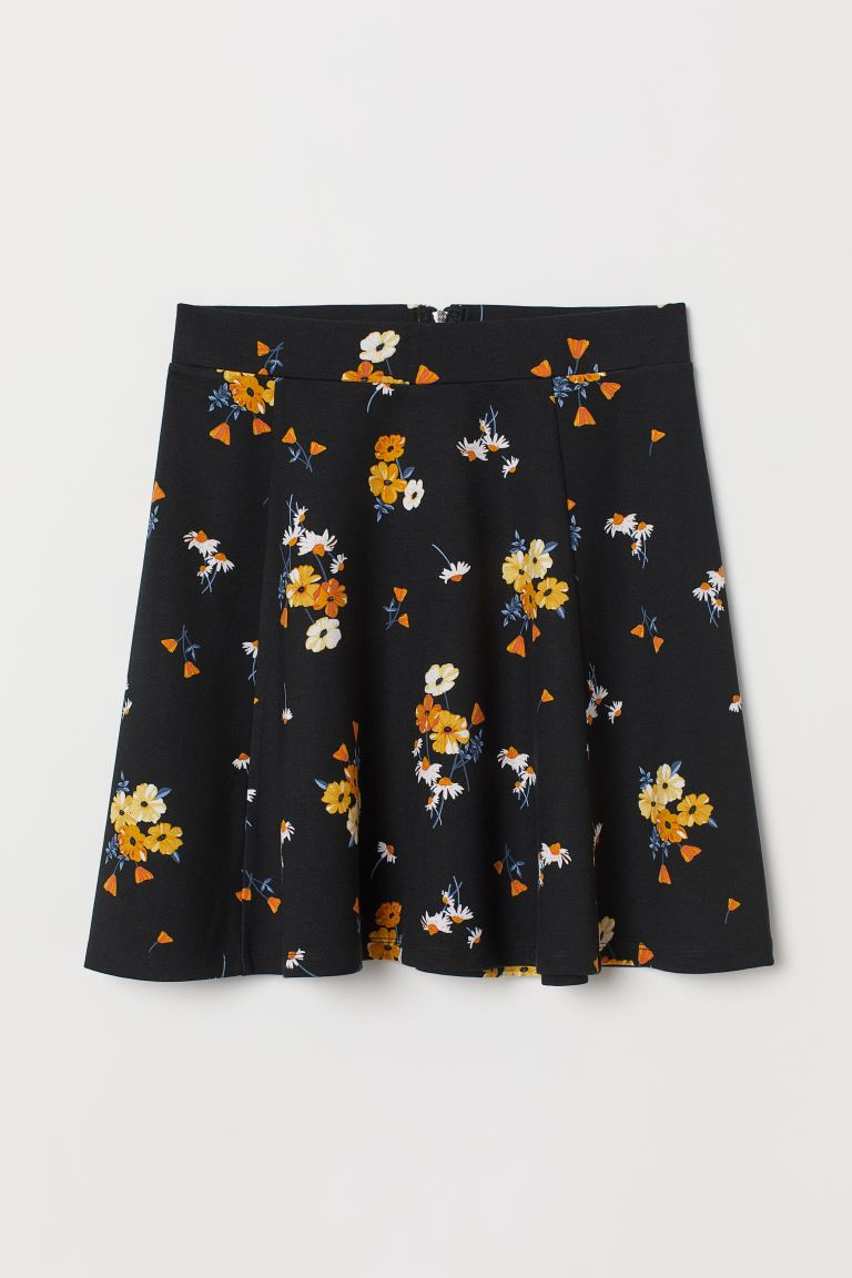 Skater skirt - Black/Floral - Ladies | H&M GB