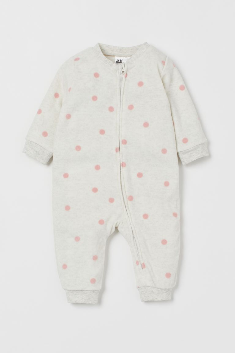 Fleece all-in-one pyjamas - Light grey/Pink spotted - Kids | H&M