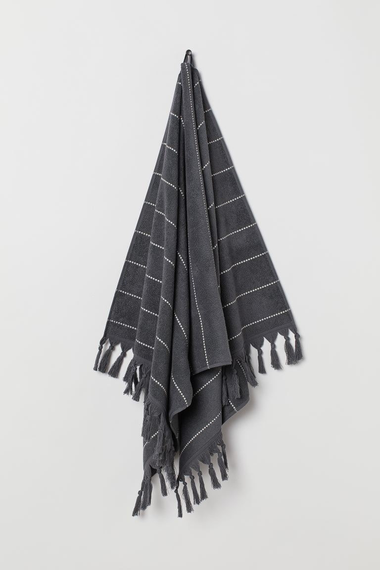 Tasselled bath towel - Anthracite grey/Striped - Home All | H&M GB