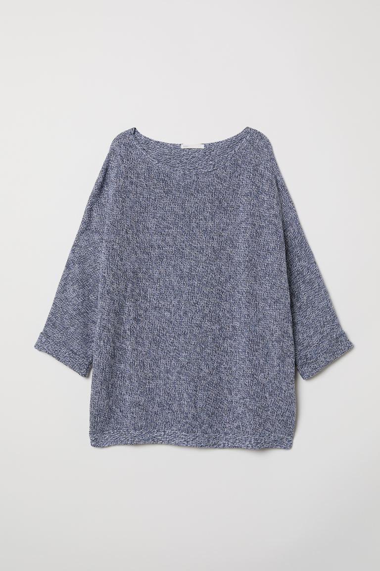 Purl-knit jumper - Blue marl - Ladies | H&M