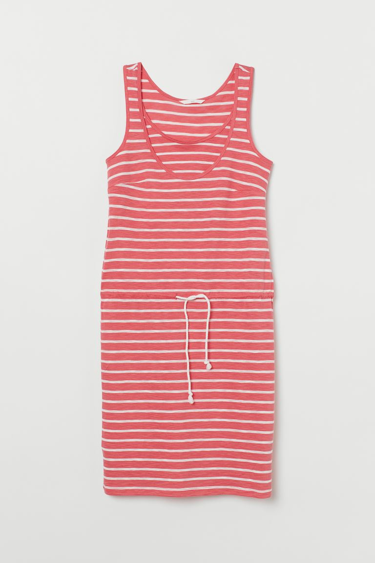 MAMA Nursing dress - Dark pink/White striped - Ladies | H&M