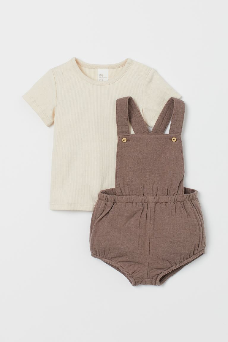 2-piece cotton set - Dark mole - Kids | H&M