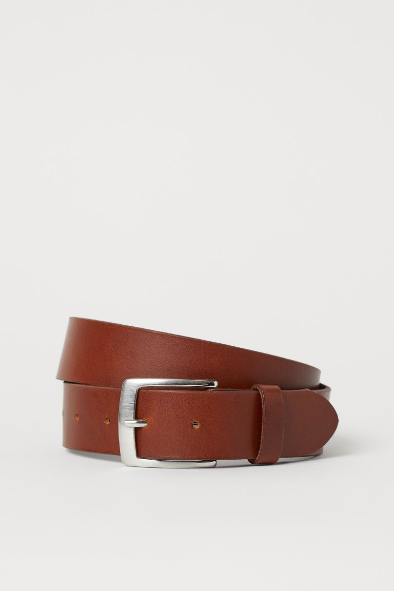 Leather belt - Dark brown - Men | H&M IE