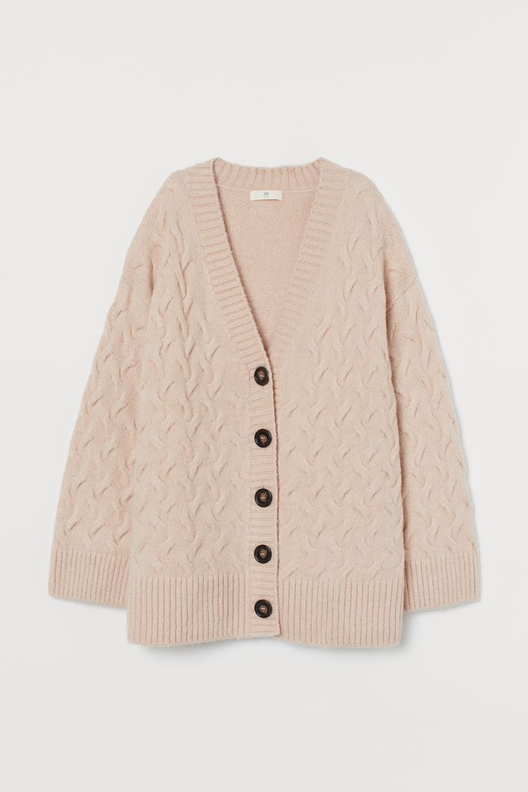 Cable-knit cardigan - Light pink - Ladies | H&M GB