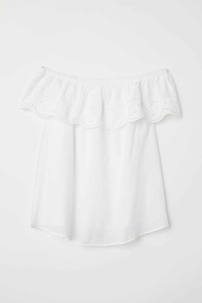 MAMA Off-the-shoulder blouse - Natural white - Ladies | H&M