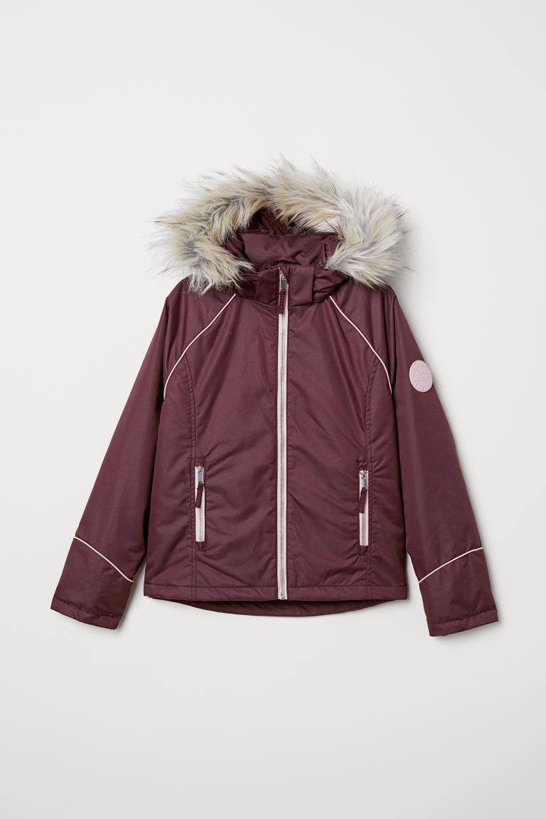 Padded hooded jacket - Dark purple -  | H&M
