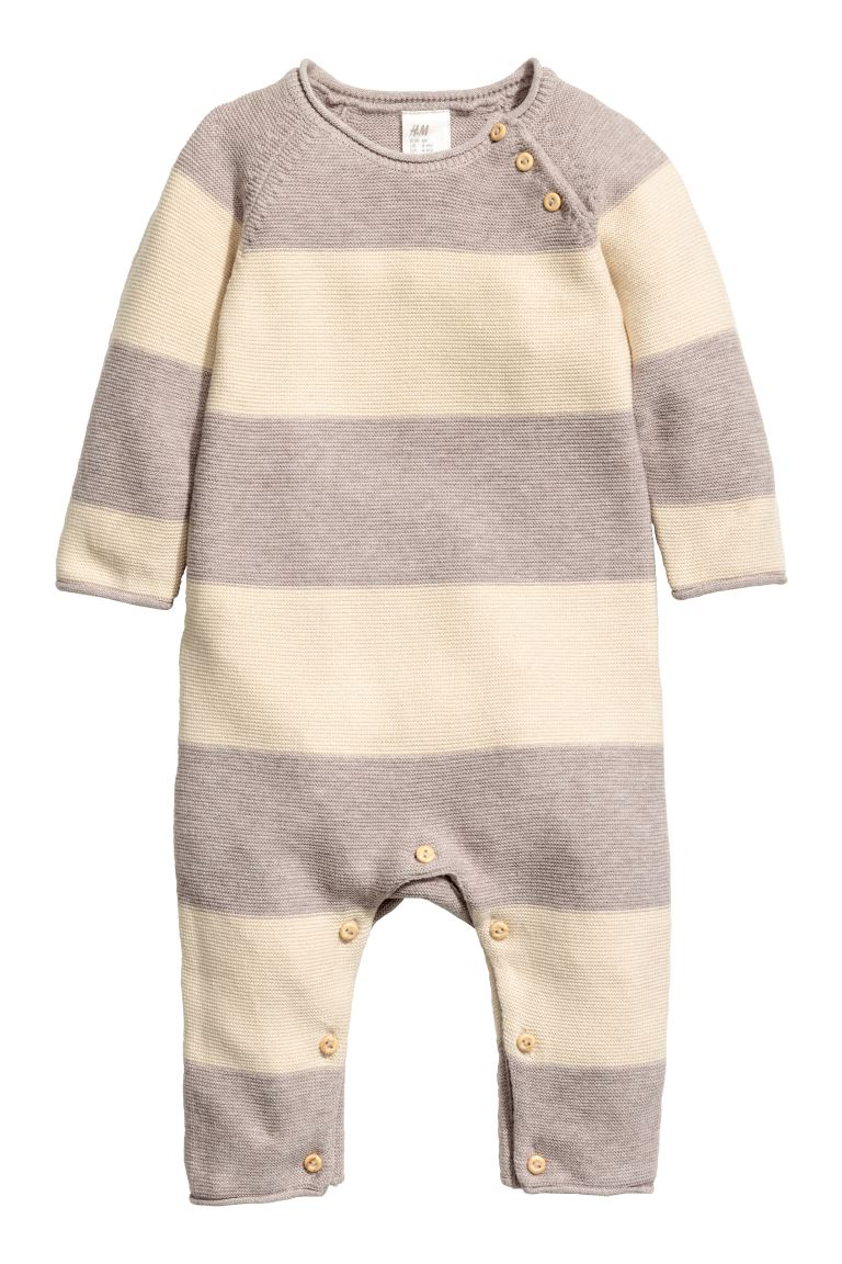 Knitted romper suit - Natural white/Light beige - Kids | H&M GB