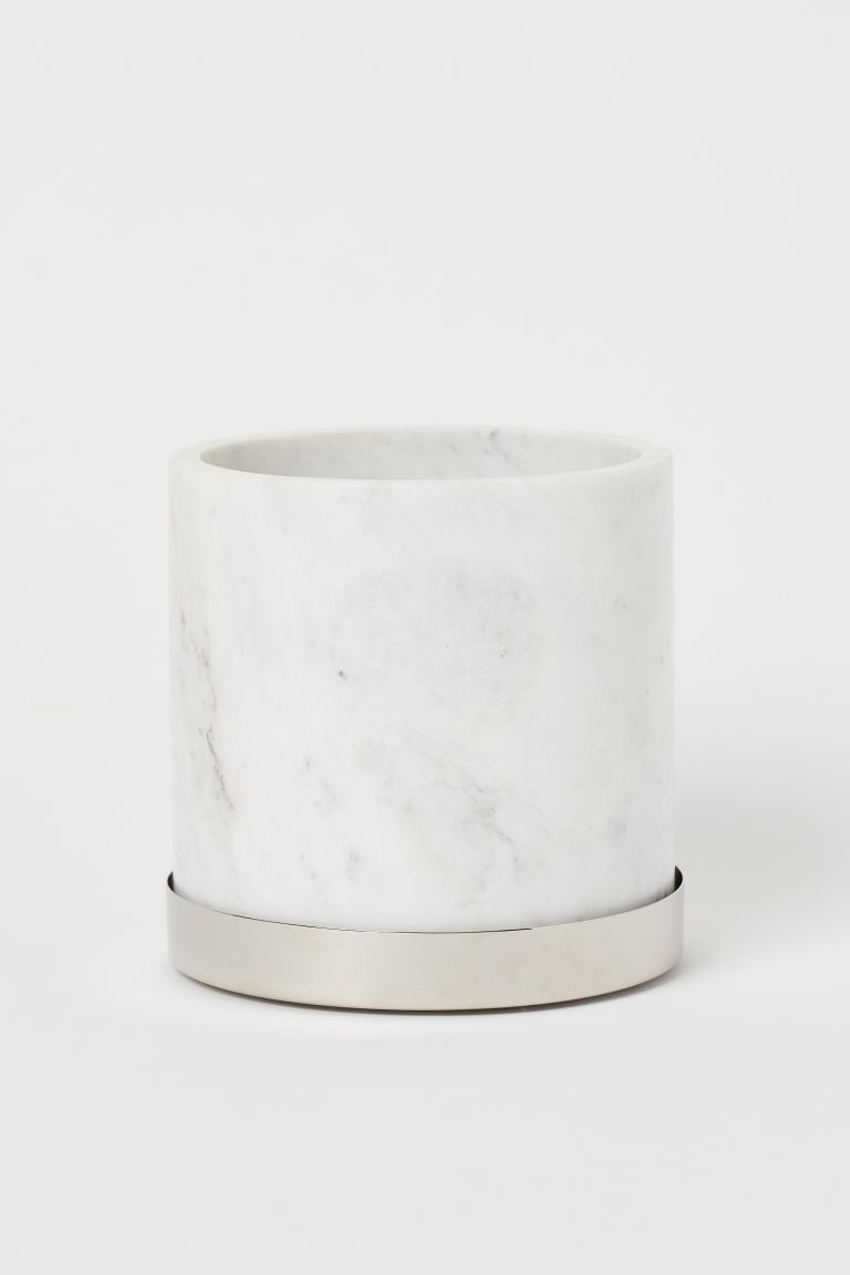 marble plant pot with saucer