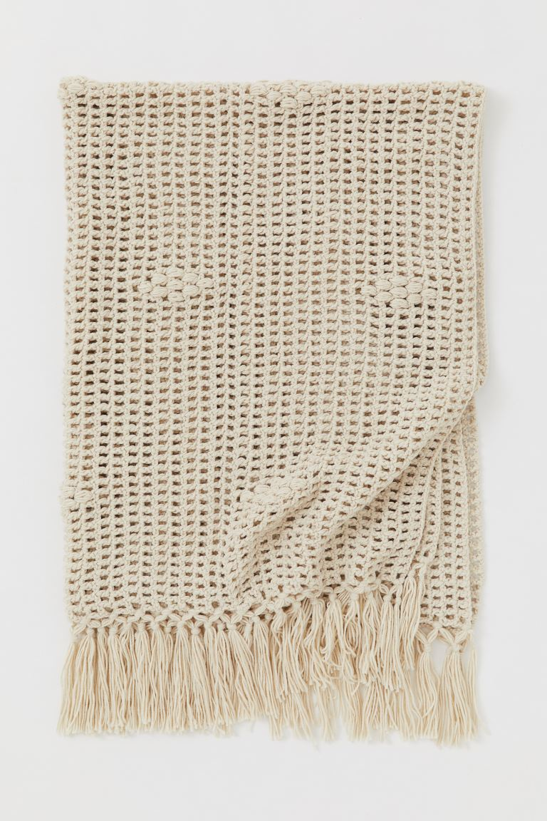 Loose-knit blanket - Light beige - Home All | H&M GB