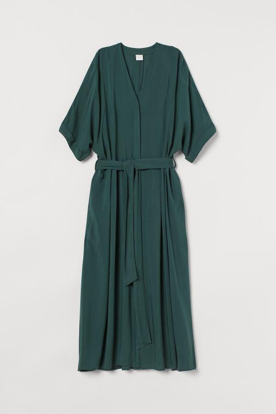 Kaftan dress - Dark green - Ladies | H&M GB 4