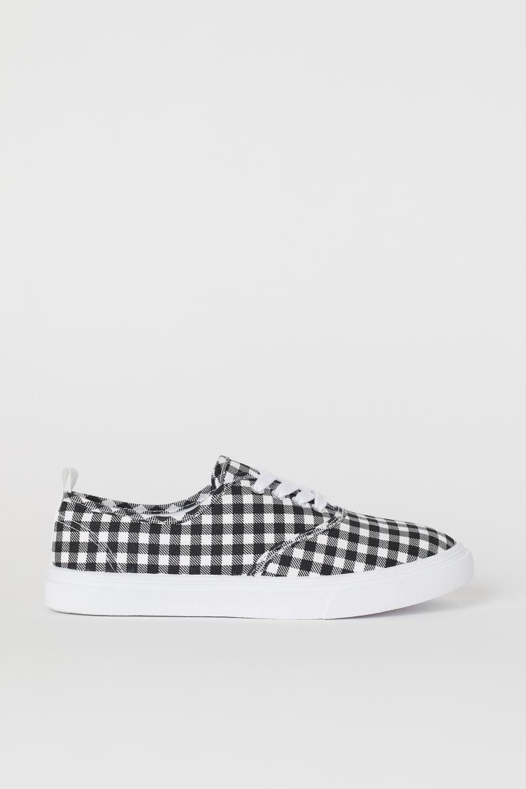 Canvas Sneakers - Black/white checked - Ladies | H&M CA