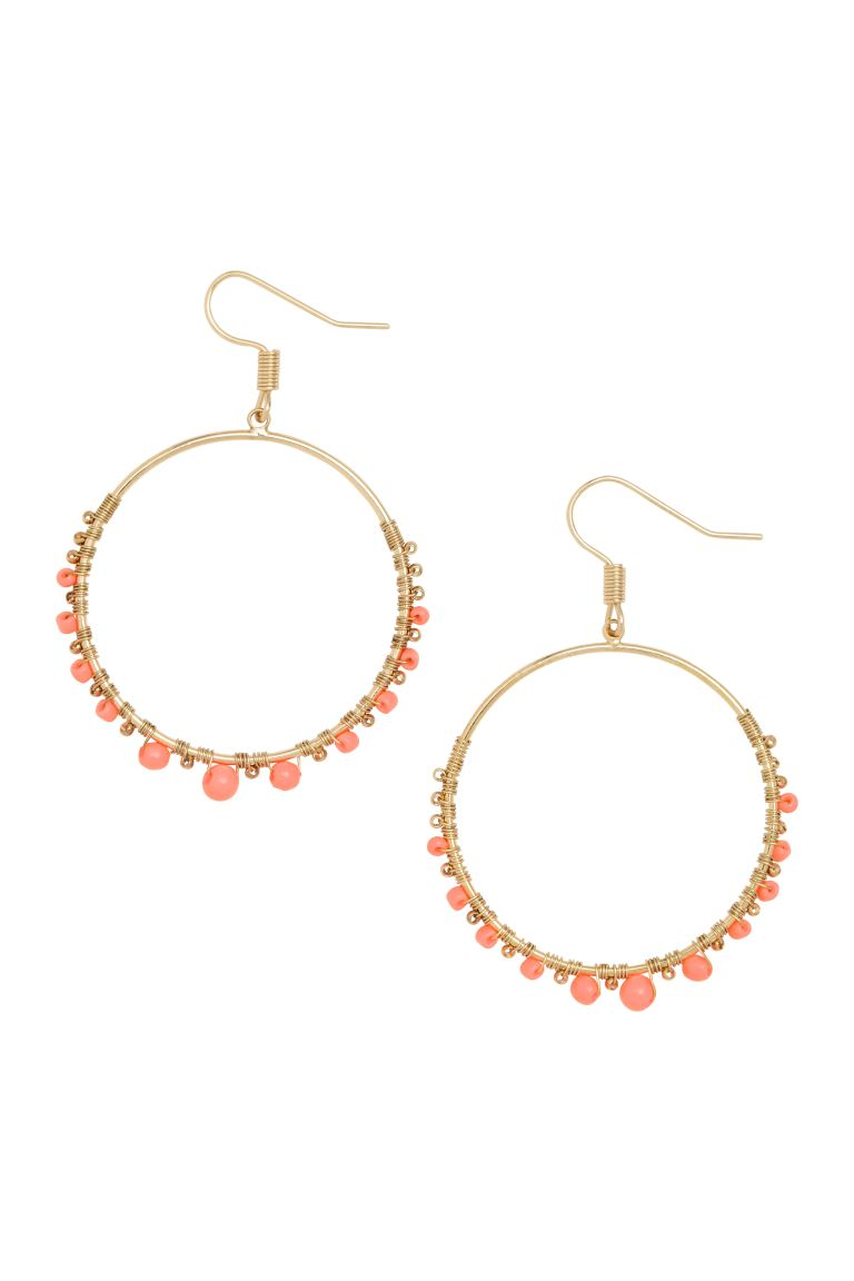 Round earrings - Gold/Coral - Ladies | H&M GB