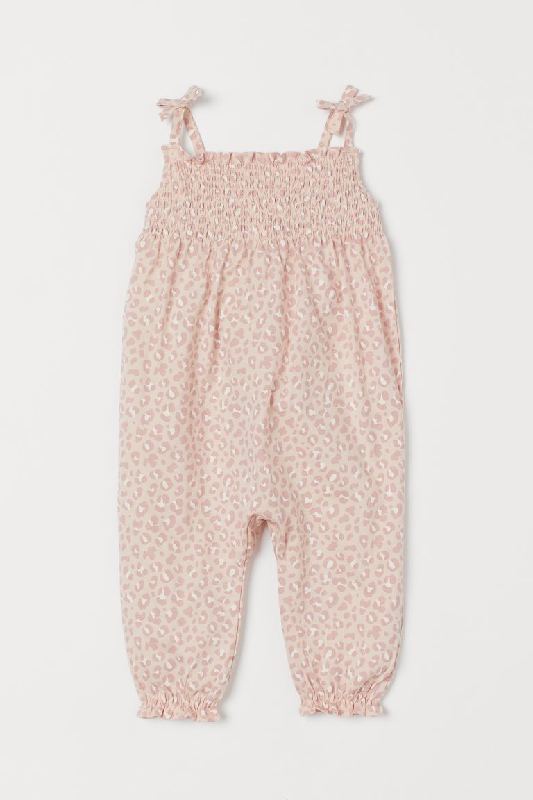 Smocked romper suit - Powder pink/Leopard print - Kids | H&M