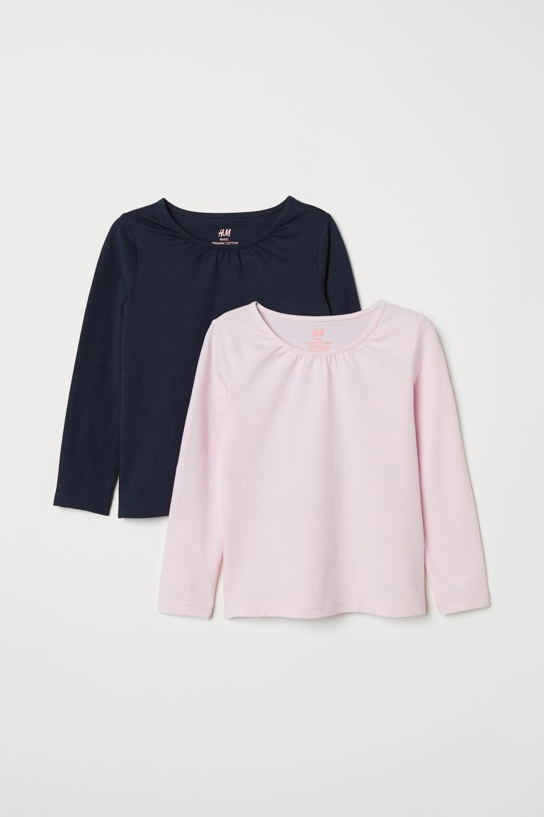 2-pack Long-sleeved Tops - Dark blue/light pink - Kids | H&M CA