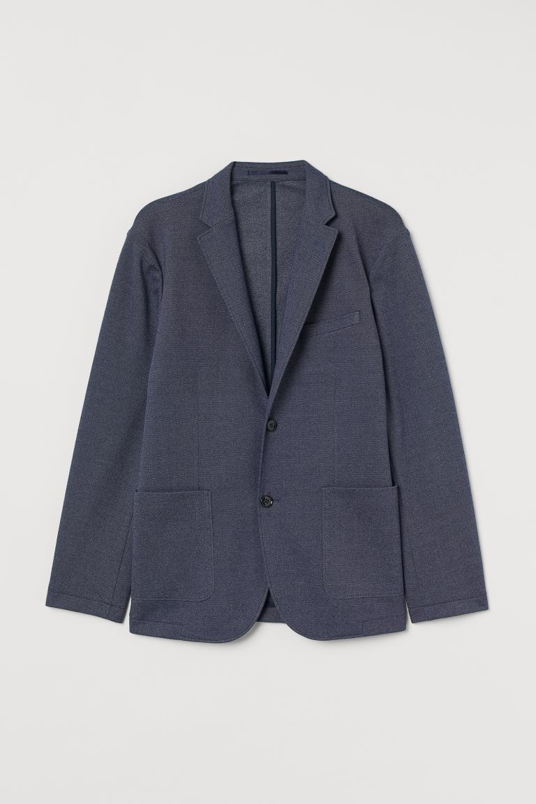 Jersey jacket Slim Fit - Dark blue marl - Men | H&M