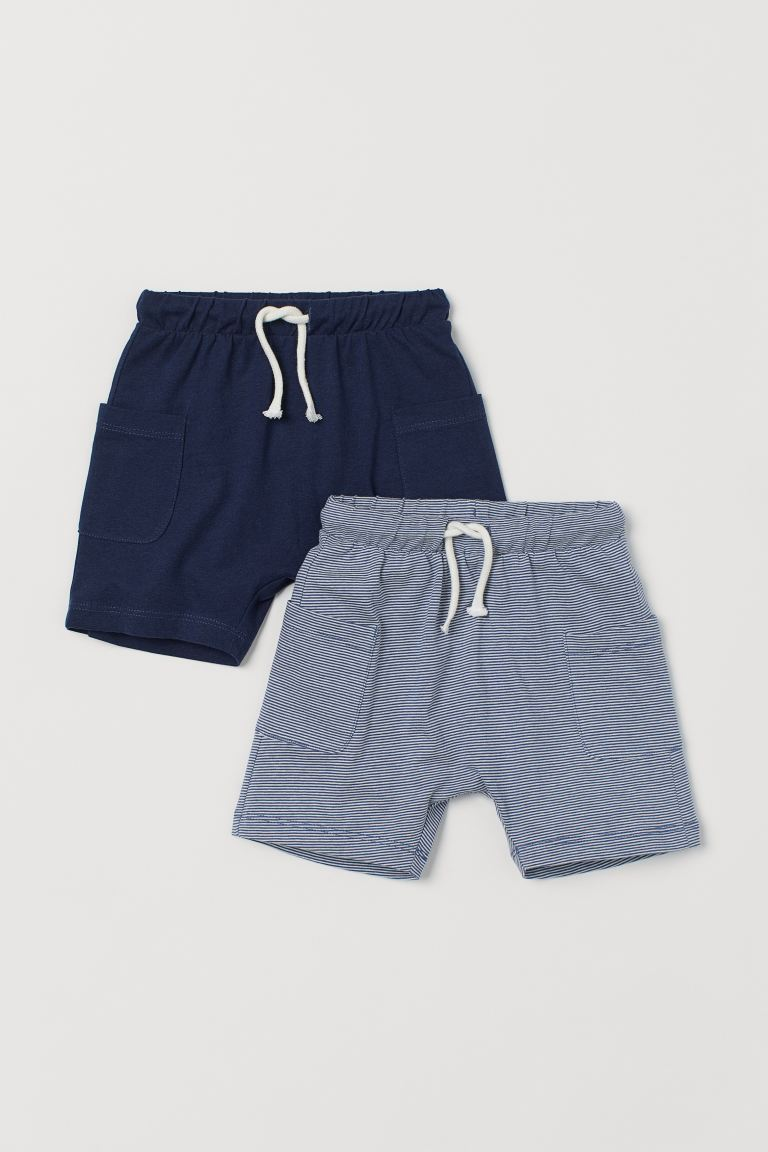 2-pack long shorts - Dark blue/White striped - Kids | H&M
