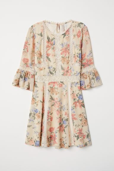 Chiffon Dress with Lace - Natural white/floral - Ladies | H&M US