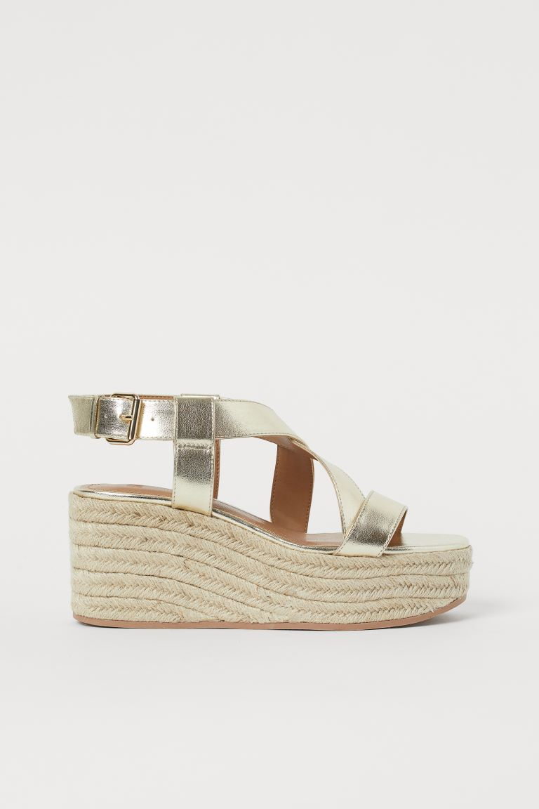 Wedge-heeled Sandals - Gold-colored - Ladies | H&M US