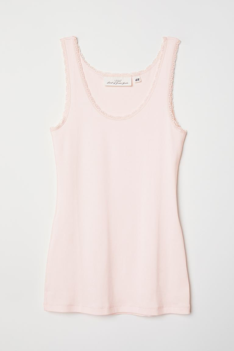 Vest top with lace trims - Light pink - Ladies | H&M