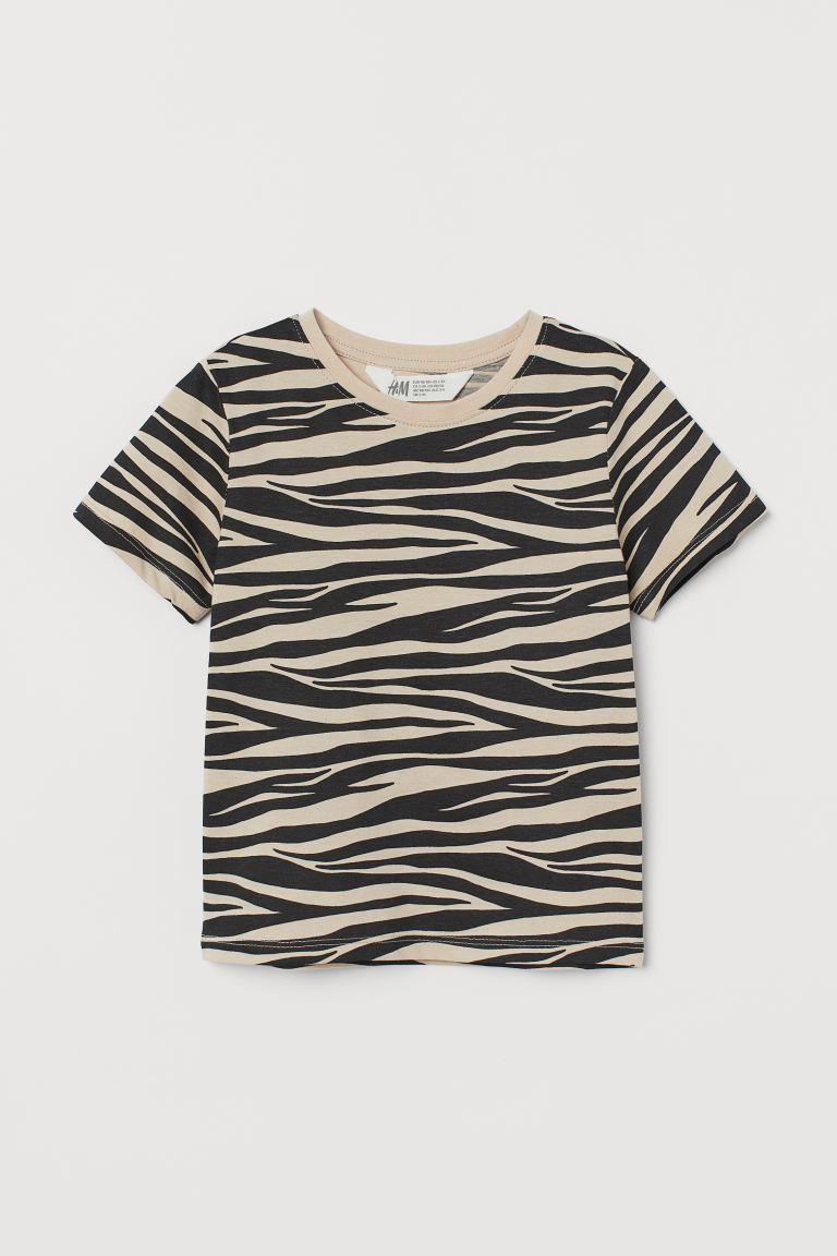 Cotton Jersey T Shirt Light Beige Zebra Print H M Us