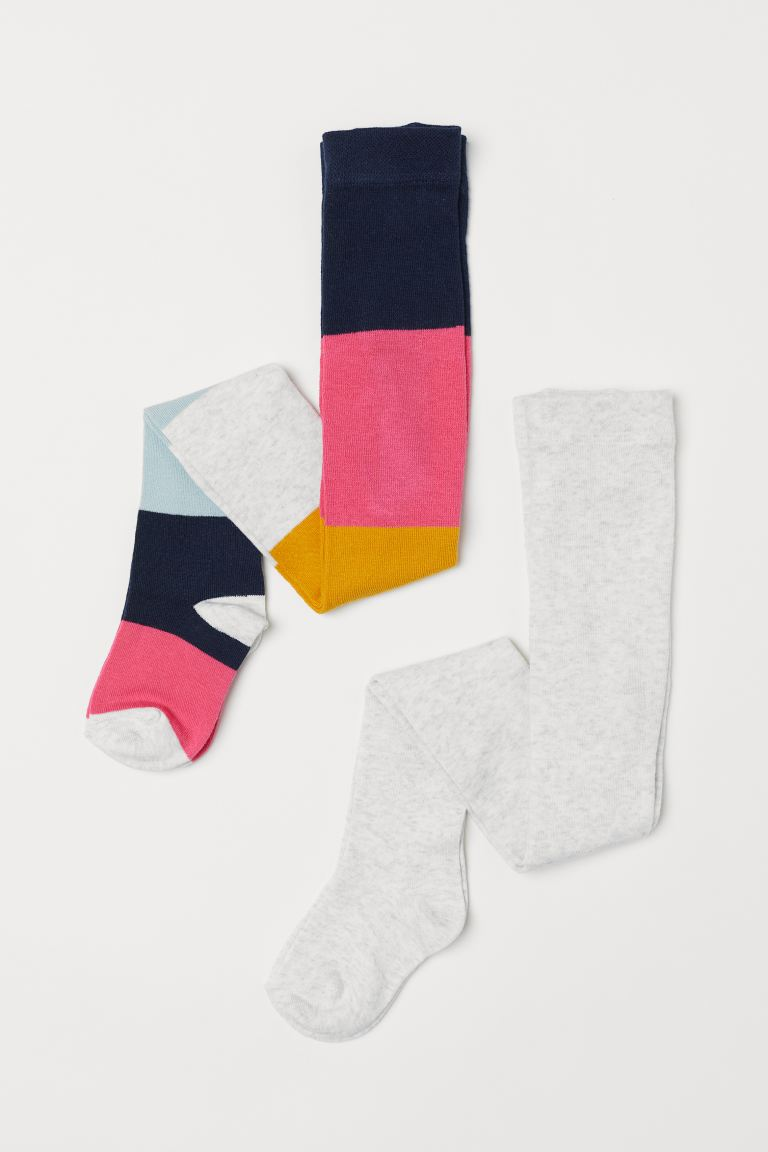 2-pack fine-knit tights - Light pink/Striped - Kids | H&M IE
