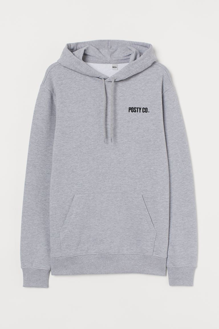 Hooded top - Grey marl/Post Malone - Men | H&M
