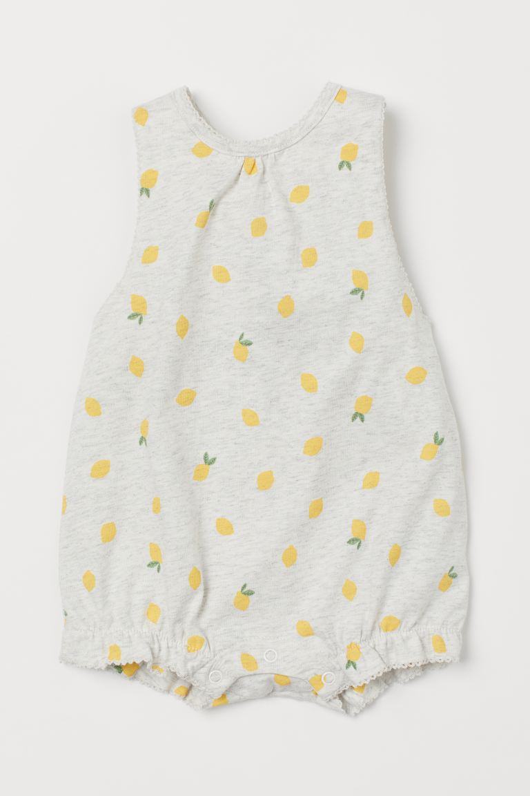Patterned jersey romper suit - Light grey marl/Lemons - Kids | H&M