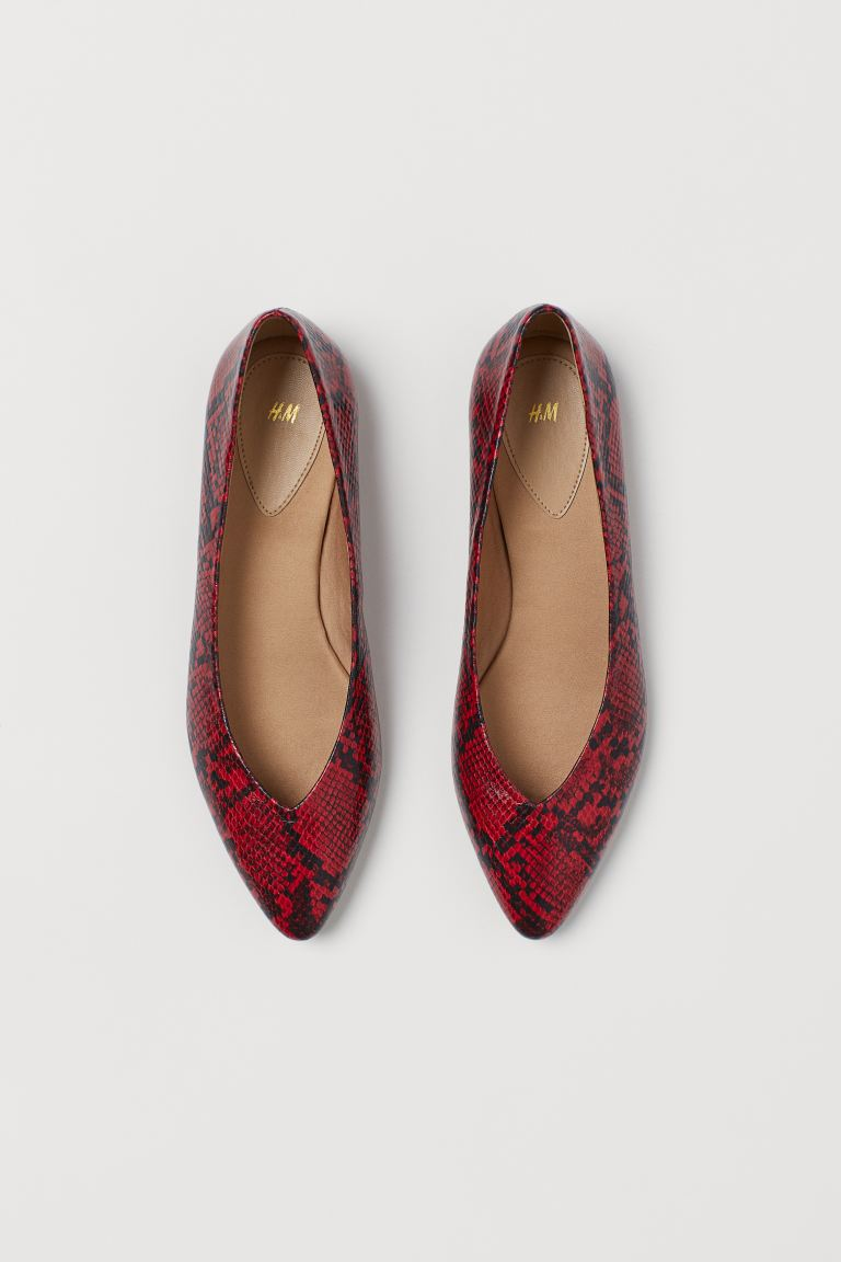 Pointed ballet pumps - Red/Snakeskin-patterned - Ladies | H&M IE