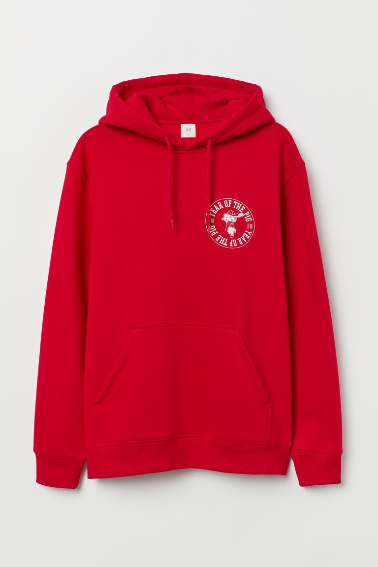 Sudadera estampada con gorro - Rojo/Year Of The Pig - Men | H&M US