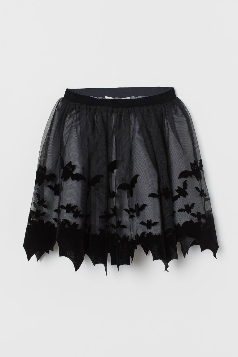 Flock-print tulle skirt - Night black/Bats - Kids | H&M IN