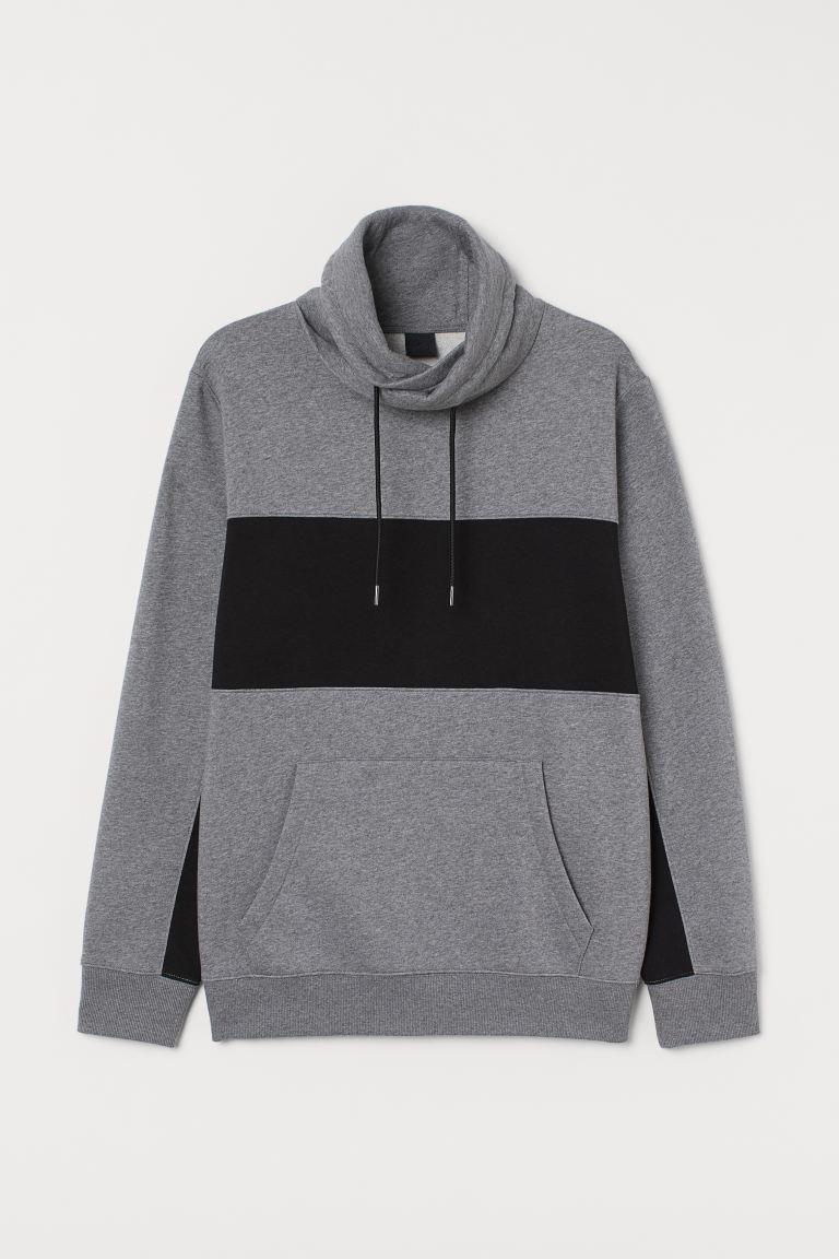 Funnel-collar sweatshirt - Grey marl/Black - Men   H&M GB