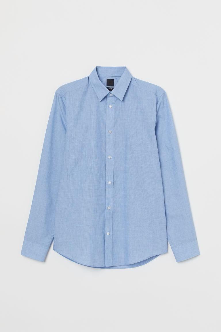 Camicia easy-iron Slim fit - Azzurro mélange - UOMO | H&M IT