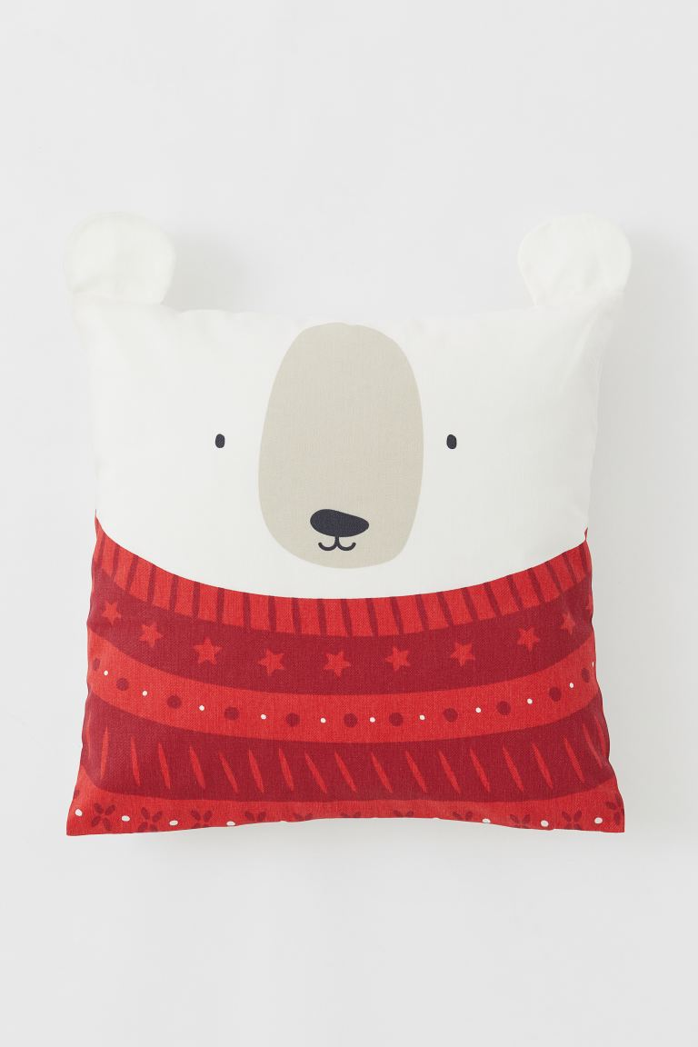 Cotton twill cushion cover - Red/Polar bear - Home All | H&M IE