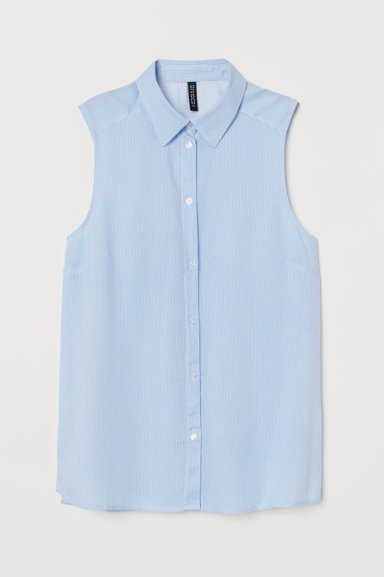 Sleeveless Blouse - Light blue/white striped - Ladies | H&M US