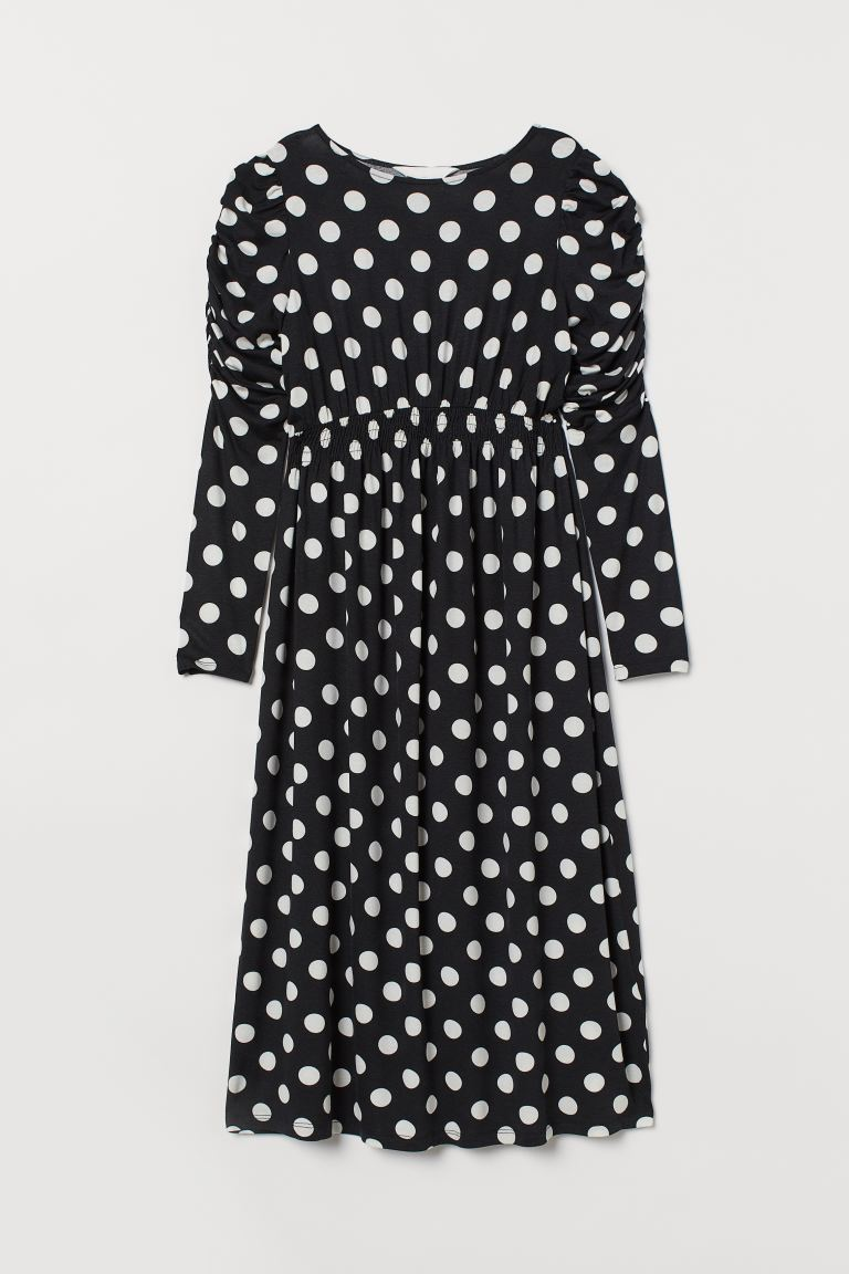 MAMA Puff-sleeved dress - Black/White spotted - Ladies | H&M GB