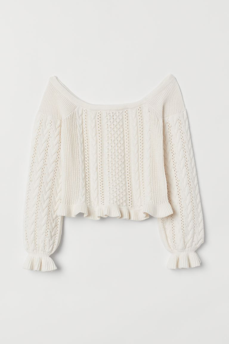 Off-the-shoulder jumper - Natural white - Ladies | H&M IN