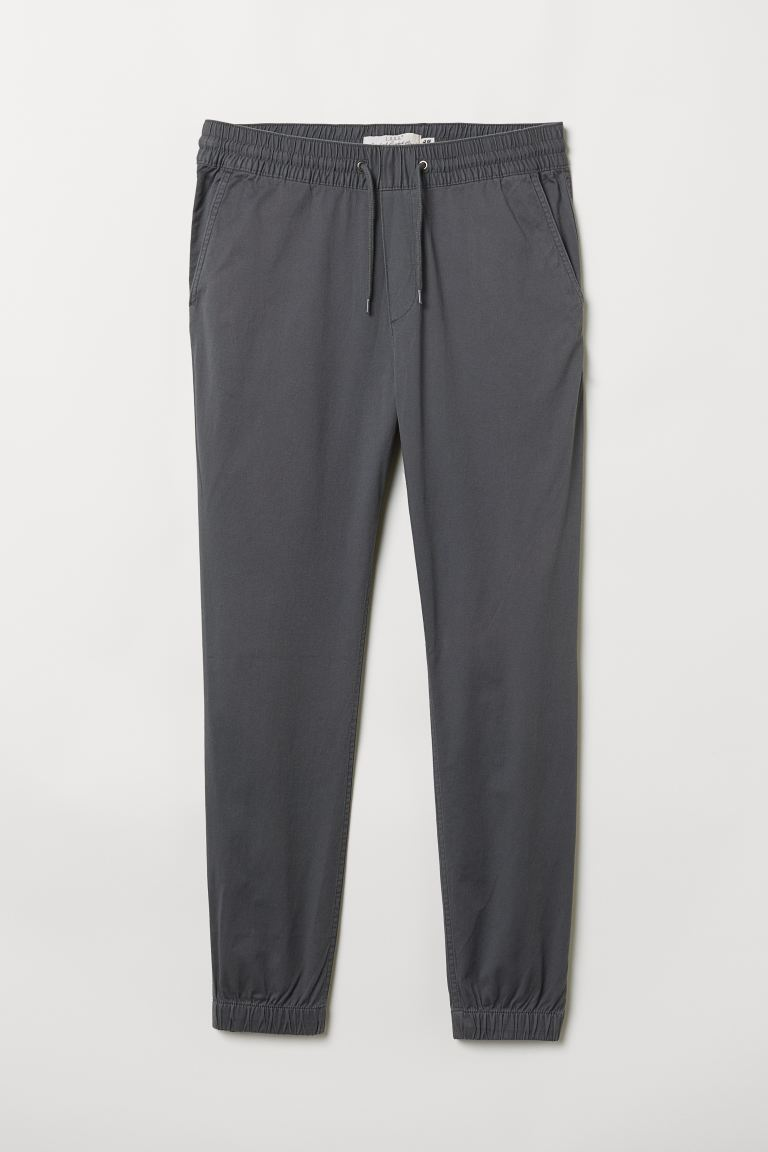 Brushed cotton twill joggers - Grey - Men | H&M
