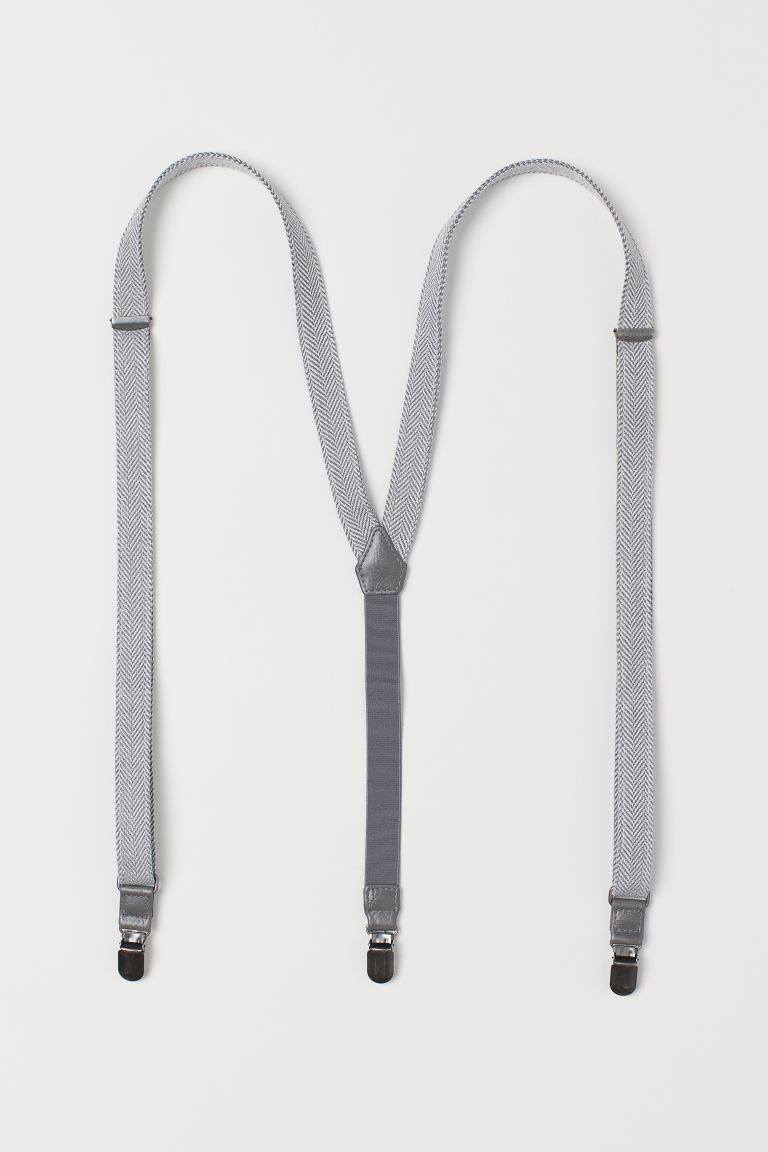 Herringbone-patterned braces - Grey/Herringbone-patterned - Men | H&M IE