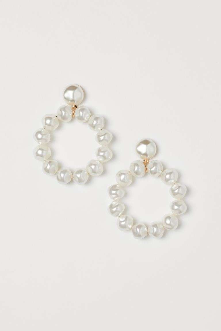 Earrings with beads - White - Ladies | H&M IE
