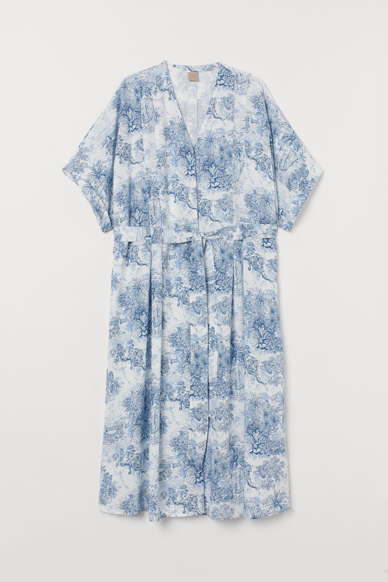 H&M+ Dress with a tie belt - White/Blue patterned - Ladies | H&M IE
