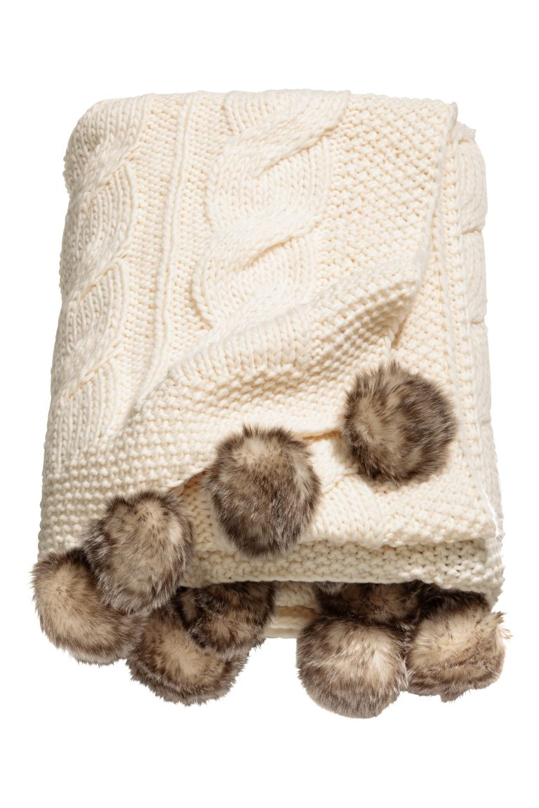 Cable-knit blanket - White - Home All | H&M GB