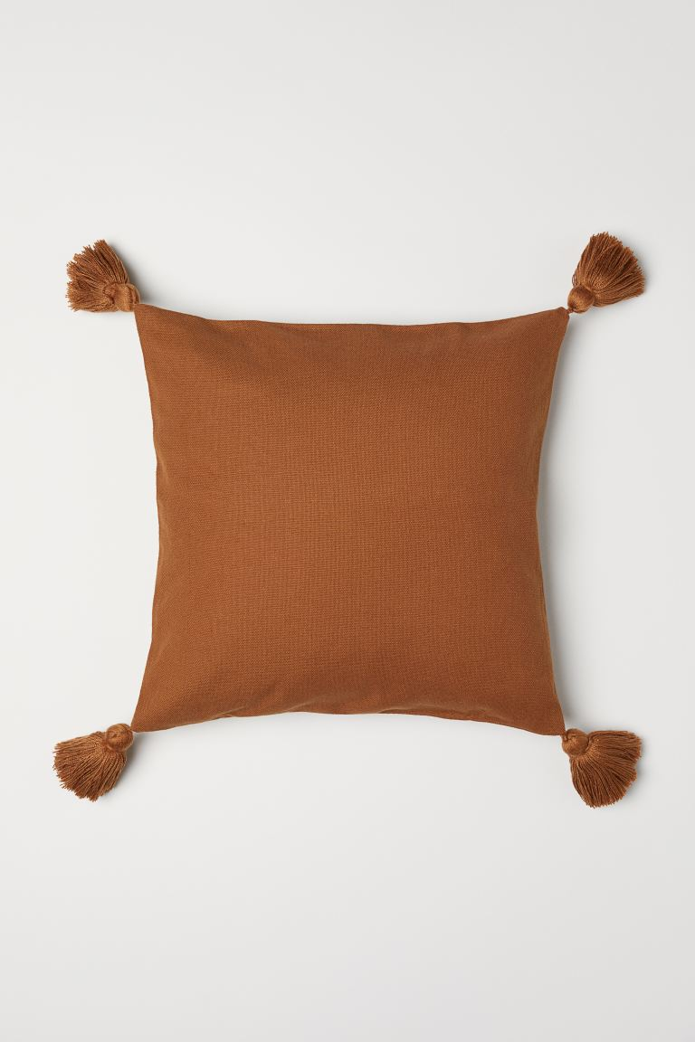 Tasselled cushion cover - Light brown - Home All | H&M GB