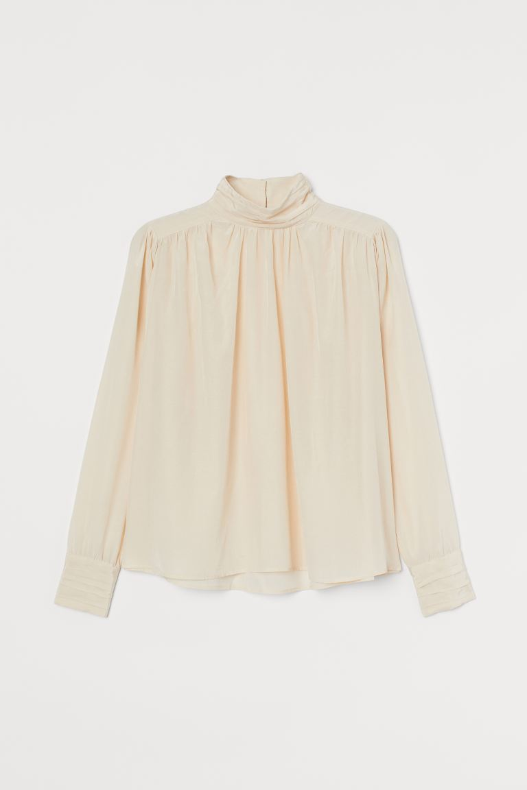 High-collared blouse - Light beige - Ladies | H&M GB