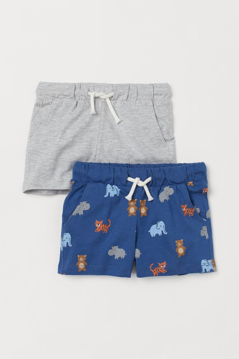 2-pack cotton shorts - Blue/Animals - Kids | H&M