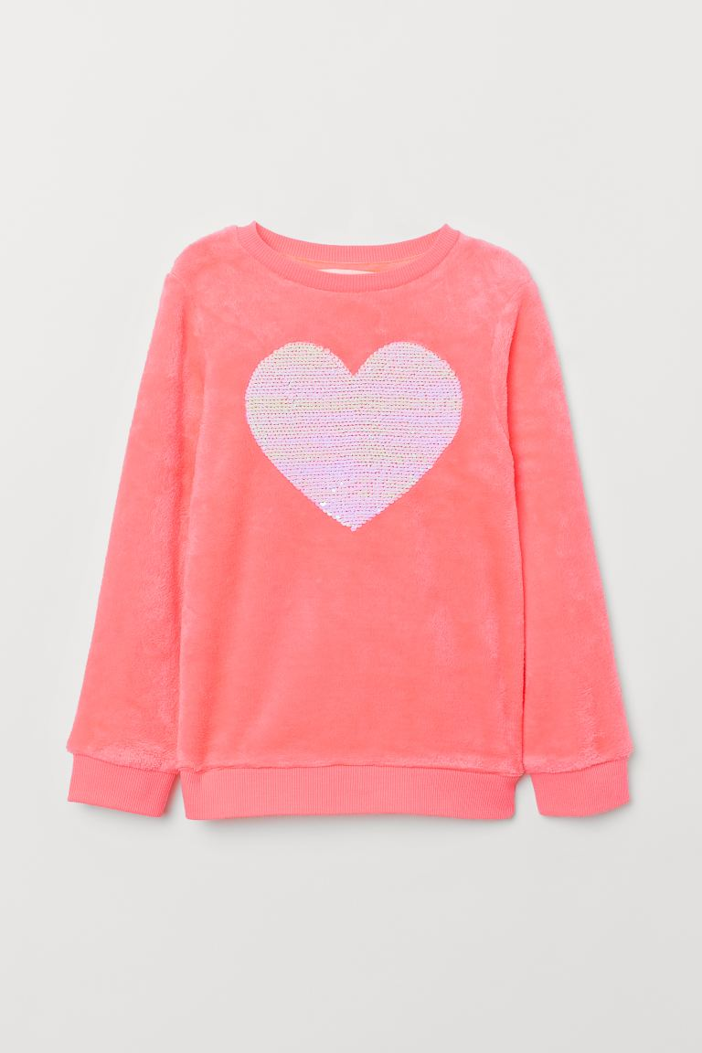 Pile top with sequins - Neon pink/Heart -  | H&M GB